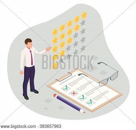 Isometric Feedback, Review, Rating, Concept Of Testimonials Messages, Notifications, Feedback, 5-sta