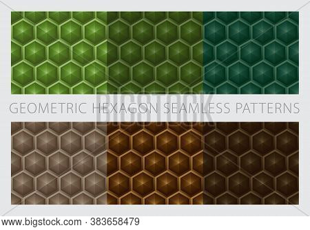 Geometric Hexagon Shapes Seamless Patterns. Color Earth Tone Set. Green And Brown Background. Vector