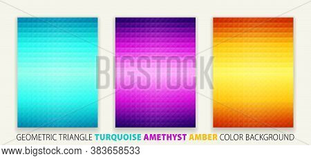 Geometric Shapes Triangle Pyramid Turquoise, Amethyst, Amber Color Background. Poster Design, Vector