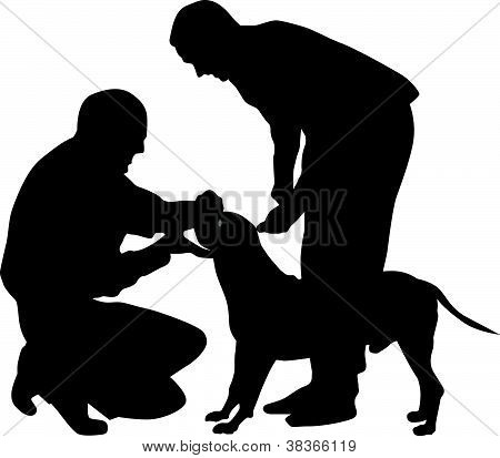 People and dog Silhouette Vector