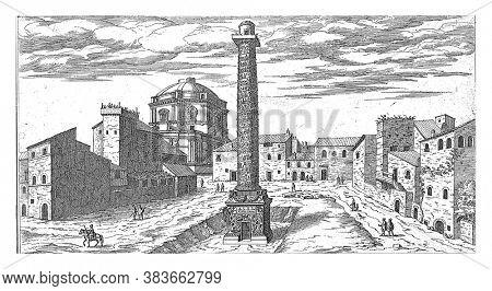Forum of Trajan with the Column of Trajan in Rome, Etienne Duperac, 1575 View of the Forum of Trajan with the Column of Trajan in Rome, vintage engraving.