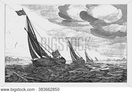Damloopers, Robert de Baudous (possibly), after Jan Porcellis, 1670 - 1726 Damloopers, small freighter for inland shipping, at sea, vintage engraving.