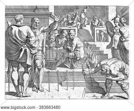 Odysseus shoots the arrow through the twelve rings, In the presence of Penelope's suitors, Odysseus tightens the bow and shoots an arrow through twelve rings, vintage engraving.
