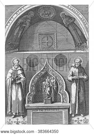 A niche with left and right Saint Francis and Saint Dominic. Middle under Christ with angels, vintage engraving.