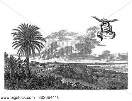 View of Alagoa do Sul, 1637, View of Alagoa do Sul (Marechal Deodoro), 1637. In the air a winged band with the title and a weapon with three fishing, vintage engraving.