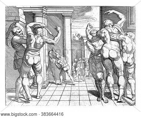 Odysseus kills the suitors with the help of Telemachus, Odysseus kills the suitors of his wife Penelope with the help of his son Telemachus, vintage engraving.
