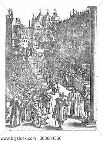 Procession on St. Mark's Square in Venice, anonymous, 1610, vintage engraving.