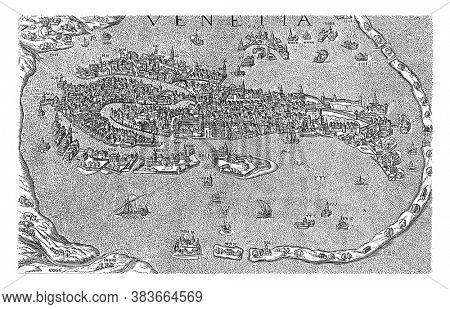 Map of Venice, anonymous, 1550 - 1649 Map of Venice with buildings in revolt, vintage engraving.
