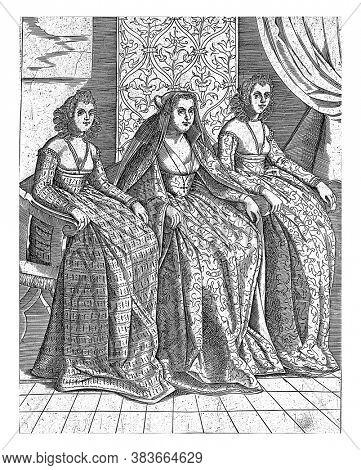 The Doge's Wife of Venice (Dogaressa) seated in the company of two other women. Two-line Italian text in bottom margin, vintage engraving.