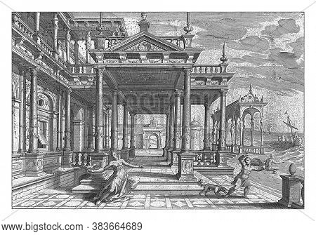 Portal of a building with Composite columns. In the foreground a woman being pecked in her finger by a bird, vintage engraving.