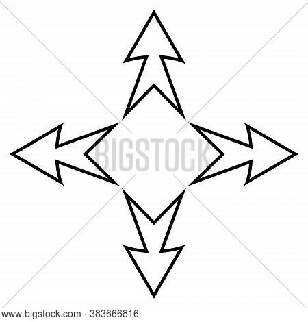 Logo Tattoo Arrows Of The Cardinal Direction, Vector Business Sign Arrows And Square Inside, Symbol