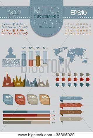 Retro infographics set. World Map and Information Graphics