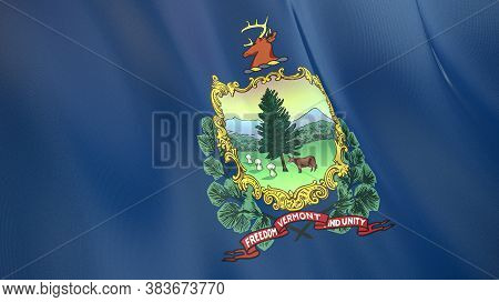 The Waving Flag Of Vermont . High Quality 3d Illustration. Perfect For News, Reportage, Events.