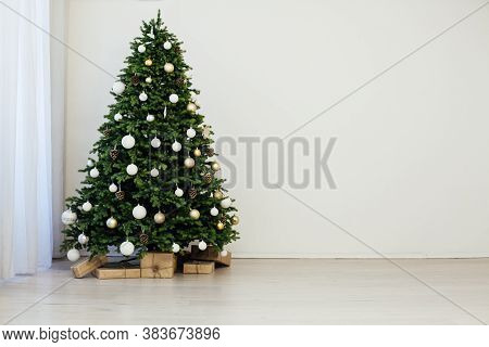 Christmas Interior Of The White Room Green Christmas Tree With Red Gifts For The New Year Decor Wint