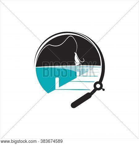Fishing Logo Modern Circle Angler Badge Hook Vector Inspiration For Activities Design Template