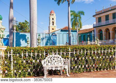 Trinidad, Cuba-october 14, 2016. Picturesque Gardens Of Plaza Mayor, Main Square Of Historic Trinida