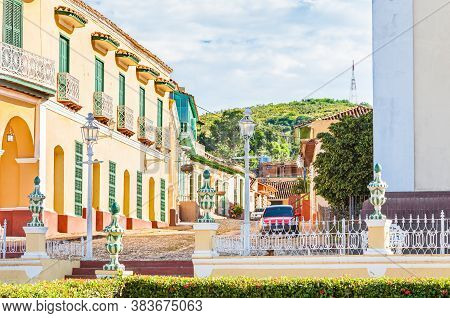 Trinidad, Cuba-october 14, 2016. View From Plaza Mayor, Main Square Of Historic Trinidad Town, With