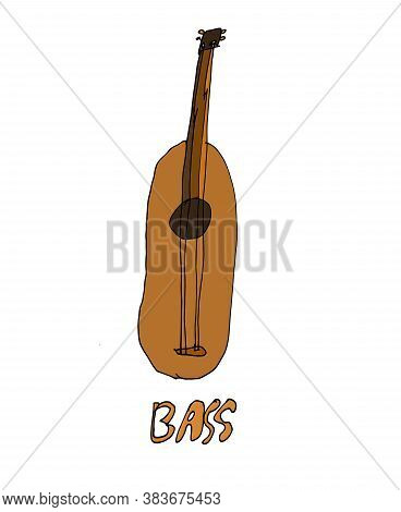 Abstract Funny Bass Instrument In Color - Cartoon And Abstract Drawing On A Theme Musical Instrument