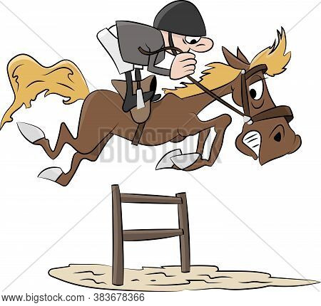 Cartoon Rider Jumping With His Horse In An Equestrian Show Jumping Competition Vector Illustration