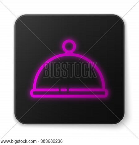 Glowing Neon Line Covered With A Tray Of Food Icon Isolated On White Background. Tray And Lid. Resta