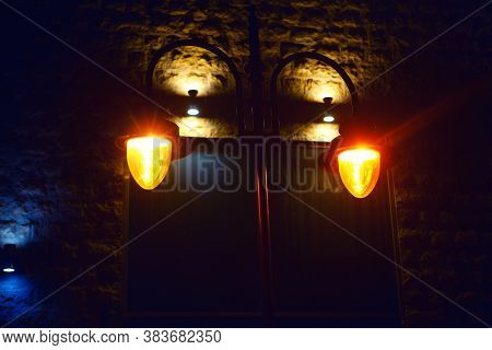 Old Street Lamp Light . Medieval Town Illuminated In The Night