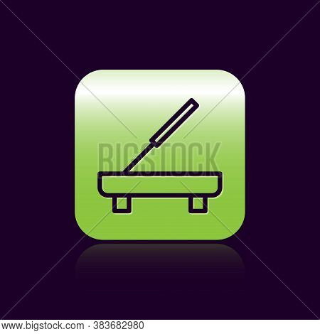 Black Line Scented Spa Stick On A Wooden Stand Icon Isolated On Black Background. Incense Stick. Cos