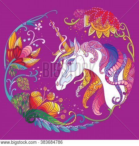 Vector Beautiful Unicorn With Flowers In Circle Composition. Colorful Ornamental Illustration Isolat