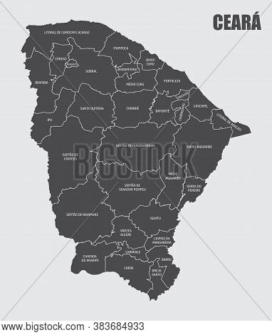 The Ceara State Map Divided In Regions With Labels, Brazil