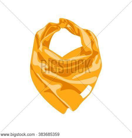 Silk Neck Scarf. Orange Textile Neckerchief, Bandana, Western Cowboy Or Biker Outerwear. Unisex Acce