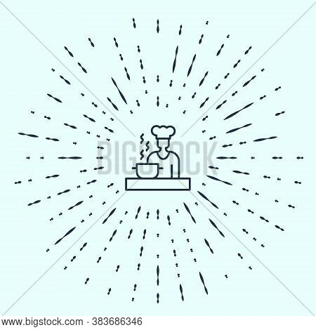 Black Line Spanish Cook Icon Isolated On Grey Background. Abstract Circle Random Dots. Vector