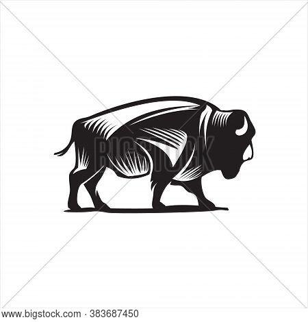 Buffalo Logo Vintage Black Rustic Silhouette Ox. A Domesticated Bovine Animal Vector. Farm House Des