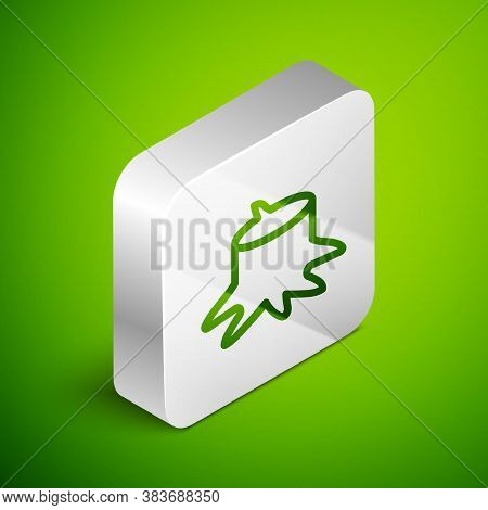 Isometric Line Tree Stump Icon Isolated On Green Background. Silver Square Button. Vector