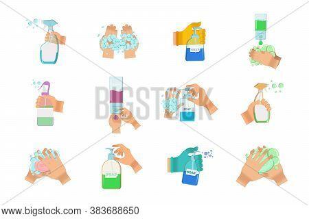 Hand Sanitizers. Disinfection. Hand Hygiene. Set Of Hand Sanitizer Bottles, Washing Gel, Spray, Wet