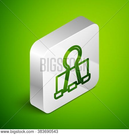 Isometric Line Binder Clip Icon Isolated On Green Background. Paper Clip. Silver Square Button. Vect