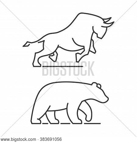 Bear And Bull Icons Set On White Background. Vector