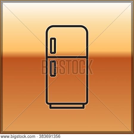 Black Line Refrigerator Icon Isolated On Gold Background. Fridge Freezer Refrigerator. Household Tec