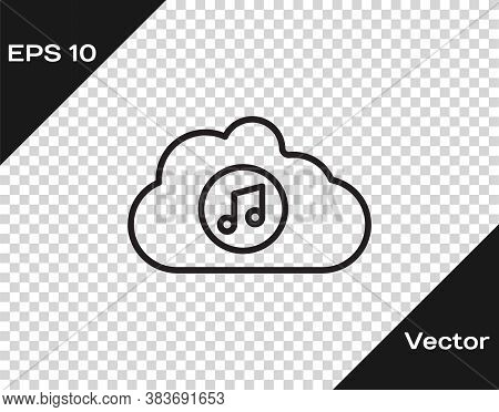Black Line Music Streaming Service Icon Isolated On Transparent Background. Sound Cloud Computing, O