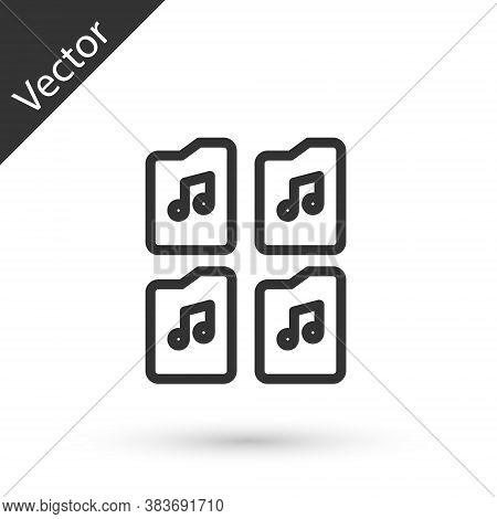 Grey Line Music File Document Icon Isolated On White Background. Waveform Audio File Format For Digi