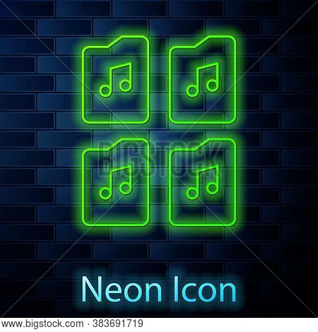 Glowing Neon Line Music File Document Icon Isolated On Brick Wall Background. Waveform Audio File Fo