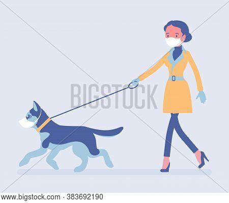 Woman Walking With Dog Under Quarantine Both Wearing Masks. Pet Owner Taking Puppy For Walk, Followi