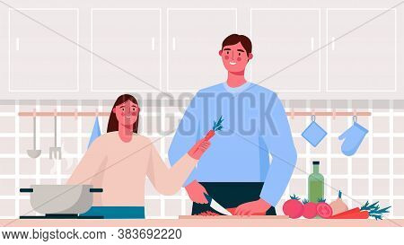 Home Cooking. Family Cooking Healthy Or Vegetarian Meal On Table In The Kitchen. Father And Kid Cook