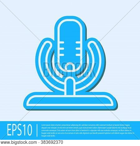 Blue Line Microphone Icon Isolated On Grey Background. On Air Radio Mic Microphone. Speaker Sign. Ve