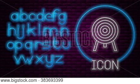 Glowing Neon Line Target Icon Isolated On Brick Wall Background. Dart Board Sign. Archery Board Icon