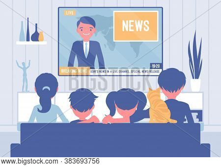 Family Sitting Watching Together Tv News At Home. Broadcast Report Of Recent Events For Parents And