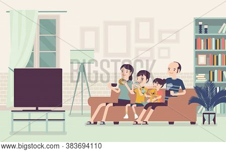Family Sitting Watching Together Tv At Home. Happy Parents And Children Spending Free Time, Weekends