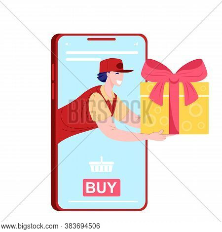 Buy Present On Mobile App Through Phone. Delivery Gift Online Order From Smartphone. Delivery Man Wi