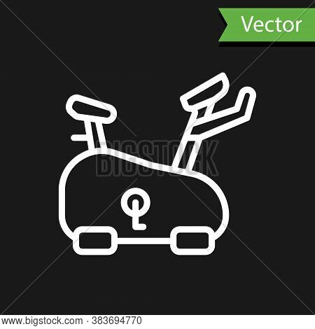 White Line Stationary Bicycle Icon Isolated On Black Background. Exercise Bike. Vector