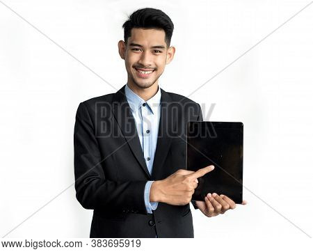Handsome Business Asian Man Present Blank Screen Tablet For Business Presentation Isolated On White