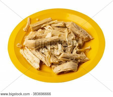 Soy Asparagus Noodles On Yellow Plate, Isolated On A White Background. Healthy Food . Asian Food. So
