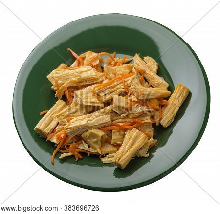 Soy Asparagus And Carrot Salad On A Plate. Soy Asparagus Isolated On White Background. Asian Food To